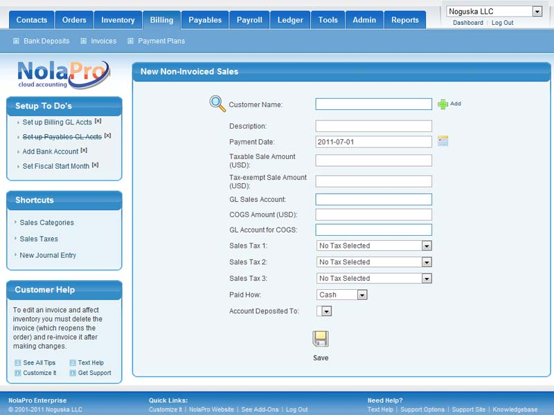 NolaPro Free Accounting Screen shot