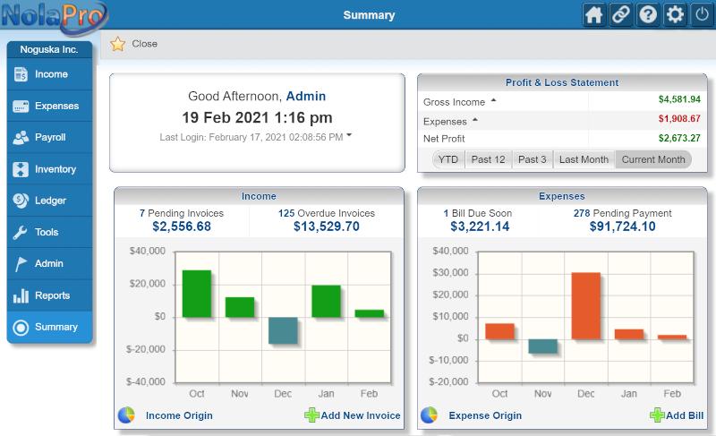 NolaPro Free Accounting full screenshot